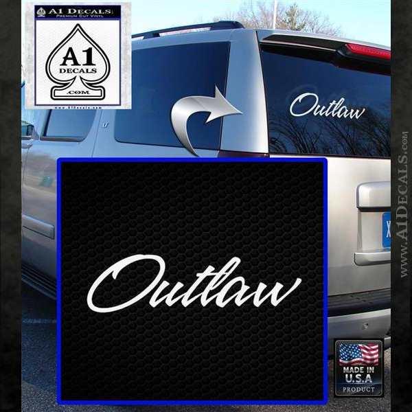 Outlaw Decal Sticker Script White Emblem