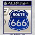 Route 666 Decal Sticker Blue Vinyl 120x120