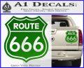 Route 666 Decal Sticker Green Vinyl 120x97
