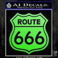 Route 666 Decal Sticker Lime Green Vinyl 120x120