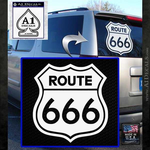 Route 666 Decal Sticker White Emblem