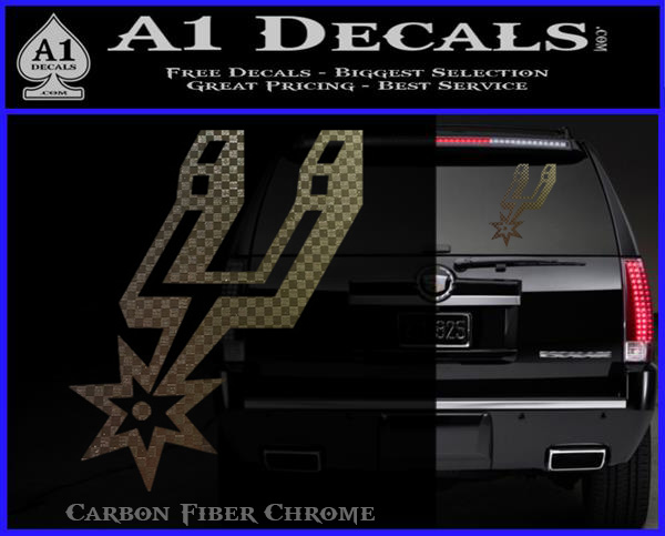 San antonio spurs decal sticker so carbon fiber chrome logo 120x97