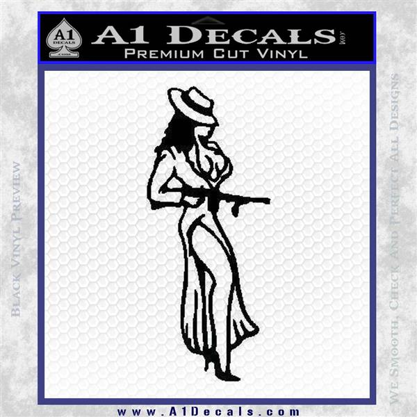Sexy Girl with Gun Decal Sticker Black Logo Emblem