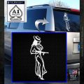 Sexy Girl with Gun Decal Sticker White Emblem 120x120