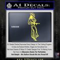 Sexy Girl with Gun Decal Sticker Yelllow Vinyl 120x120
