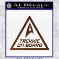 Star Trek Trekkie On Board Vinyl Decal Brown Vinyl 120x120