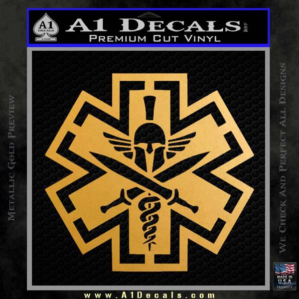 Tactical Medic EMT Decal Sticker Spartan Metallic Gold Vinyl