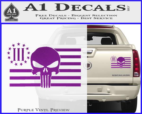 Three Percenter Flag Skull Decal Sticker 187 A1 Decals