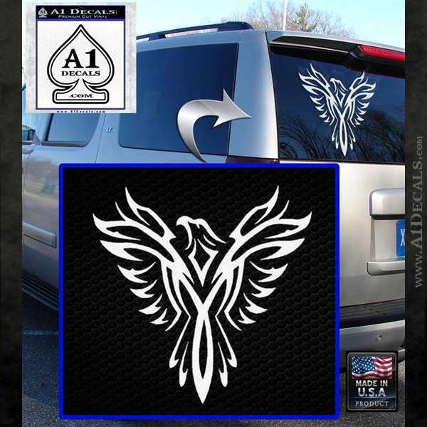 Tribal Eagle Decal Sticker D4 White Emblem