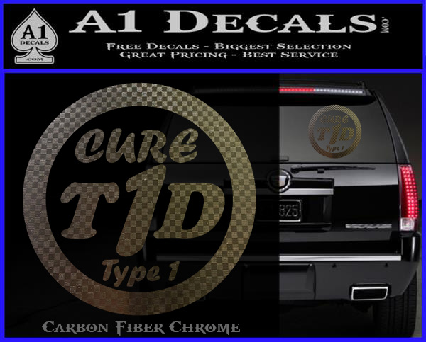 Type 1 diabetes support decal sticker ribbon carbon fiber chrome logo 120x97