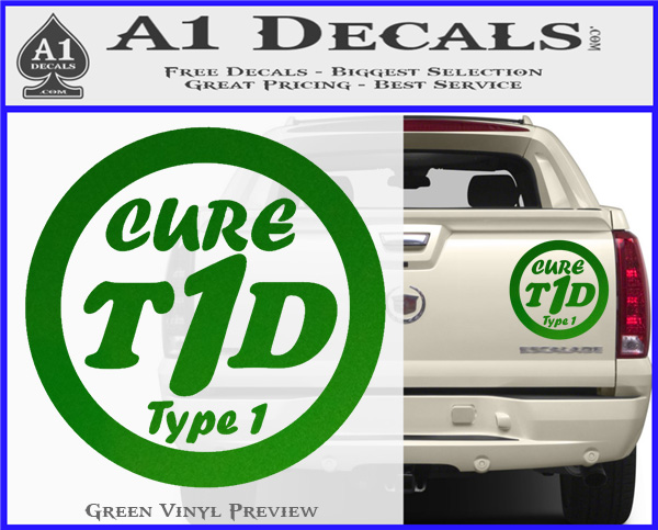 Type 1 diabetes support decal sticker ribbon green vinyl 120x97