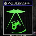 Ufo Abducting Tractor Car DG Decal Sticker Lime Green Vinyl 120x120