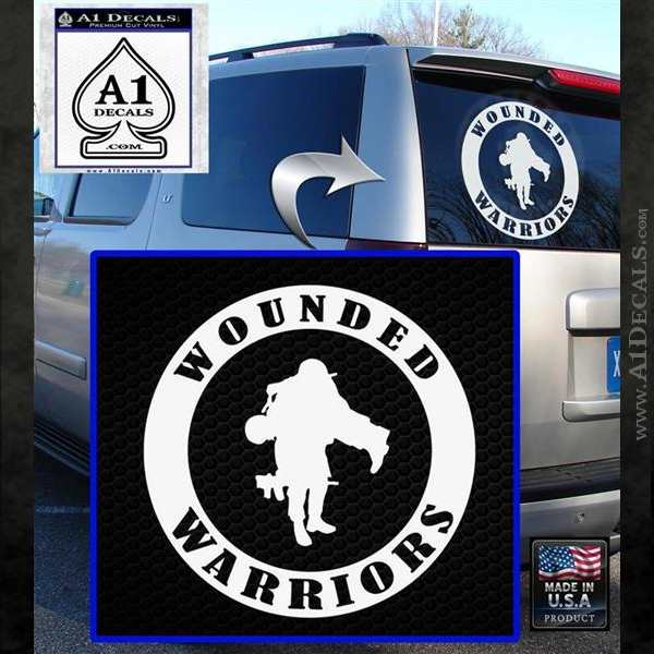 Wounded Warriors Decal Sticker CR White Emblem