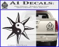 Yin Yang Sun Decal Sticker Carbon FIber Black Vinyl 120x97