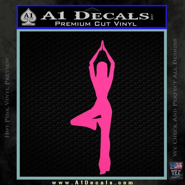 Yoga Girl Decal Sticker D8 Hot Pink Vinyl