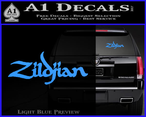 Zildjian cymbals decal sticker light blue vinyl 120x97