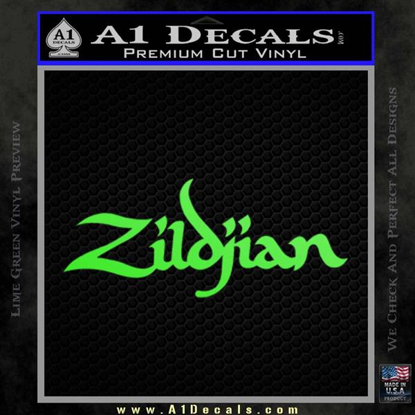 Zildjian cymbals logo decal sticker lime green vinyl 120x120