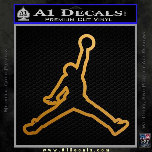 Air Jordan Jumpman Outline Decal Sticker Metallic Gold Vinyl