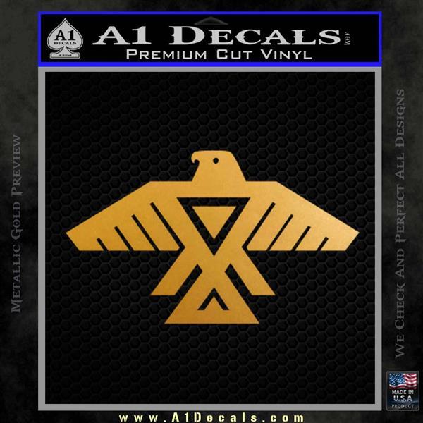 Anishinabe Tribal Eagle Decal Sticker Metallic Gold Vinyl
