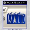 Hiking Camping WILD Decal Sticker Outdoors Blue Vinyl 120x120