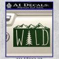 Hiking Camping WILD Decal Sticker Outdoors Dark Green Vinyl 120x120
