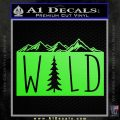 Hiking Camping WILD Decal Sticker Outdoors Lime Green Vinyl 120x120