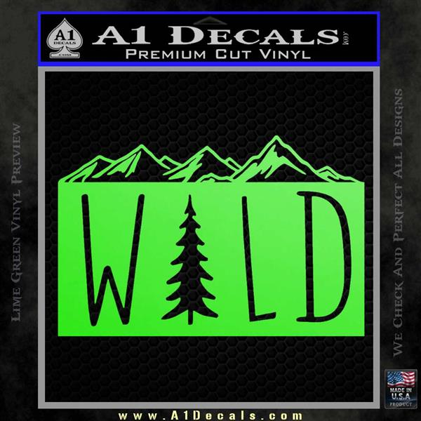 Hiking Camping WILD Decal Sticker Outdoors Lime Green Vinyl