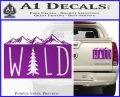 Hiking Camping WILD Decal Sticker Outdoors Purple Vinyl 120x97