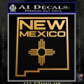 New Mexico Zia Decal Sticker State Outline TXT Metallic Gold Vinyl 120x120