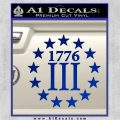 1776 Three Percenter Decal Sticker Blue Vinyl 120x120