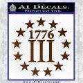 1776 Three Percenter Decal Sticker Brown Vinyl 120x120