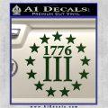 1776 Three Percenter Decal Sticker Dark Green Vinyl 120x120
