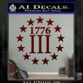 1776 Three Percenter Decal Sticker Dark Red Vinyl 120x120
