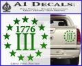 1776 Three Percenter Decal Sticker Green Vinyl 120x97