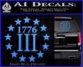 1776 Three Percenter Decal Sticker Light Blue Vinyl 120x97
