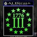 1776 Three Percenter Decal Sticker Lime Green Vinyl 120x120