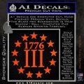1776 Three Percenter Decal Sticker Orange Vinyl Emblem 120x120