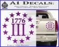 1776 Three Percenter Decal Sticker Purple Vinyl 120x97