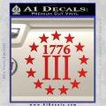 1776 Three Percenter Decal Sticker Red Vinyl 120x120