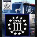 1776 Three Percenter Decal Sticker White Vinyl Emblem 120x120