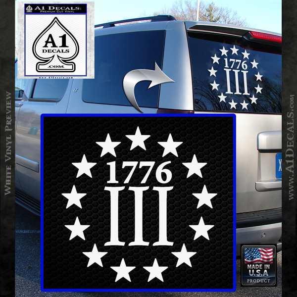 1776 Three Percenter Decal Sticker 187 A1 Decals