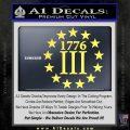 1776 Three Percenter Decal Sticker Yellow Vinyl 120x120