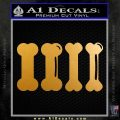 4 Dog Bones Decal Sticker Metallic Gold Vinyl 120x120