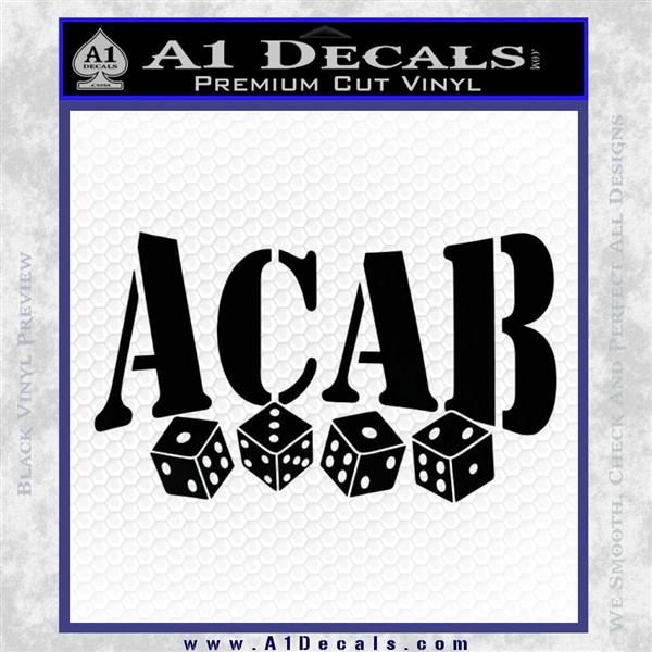 ACAB Decal Sticker Dice Black Vinyl Logo Emblem