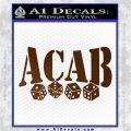 ACAB Decal Sticker Dice Brown Vinyl 120x120