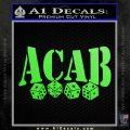 ACAB Decal Sticker Dice Lime Green Vinyl 120x120