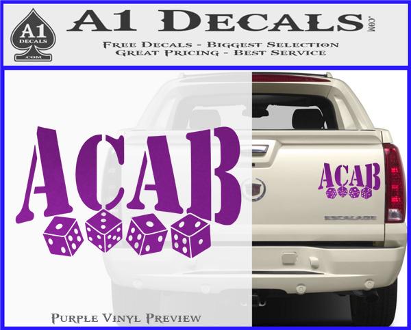 ACAB Decal Sticker Dice » A1 Decals