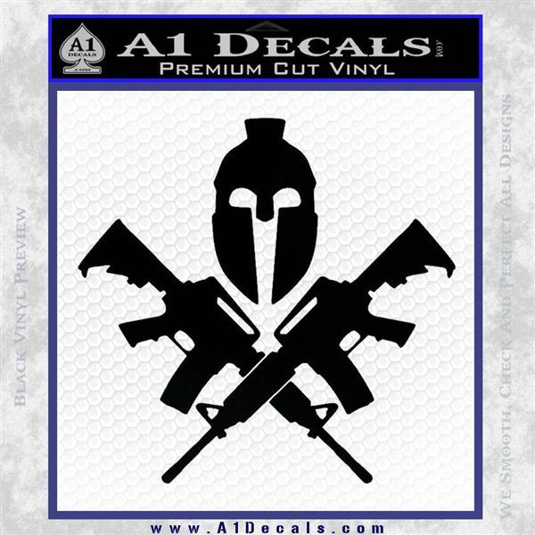 AR 15 Spartan Crossed Decal Sticker Black Vinyl Logo Emblem