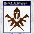 AR 15 Spartan Crossed Decal Sticker Brown Vinyl 120x120