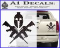 AR 15 Spartan Crossed Decal Sticker Carbon Fiber Black 120x97